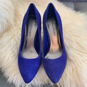 Sole Society Suede Pumps in Cobalt Blue